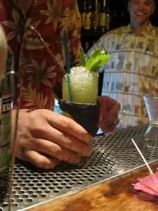 A Chartreuse Swizzle made by Marco Dionysos at Smuggler's Cove in San Francisco