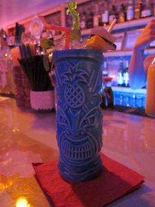 A drink in a tiki mug at Painkiller in New York