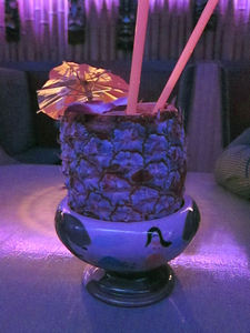 Pi�a colada in a frozen pineapple at Painkiller in New York
