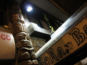 Tiki pole at the entrance to Bora-Bora in Madrid