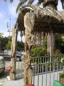 Tiki at the entrance to The Waterfront Restaurant in Redwood City