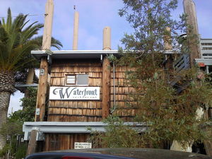 Sign for The Waterfront Restaurant in Redwood City