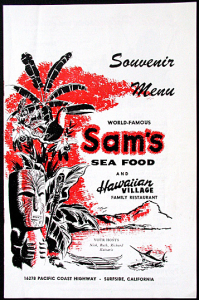 Souvenir menu from Sam's Seafood