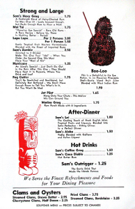 Page from a souvenir menu from Sam's Seafood