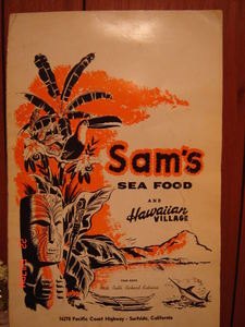 Menu from Sam's Seafood in Huntington Beach