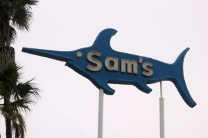 Sam's Seafood sign