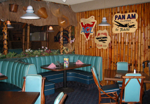 One of the dining rooms at Sam's Seafood