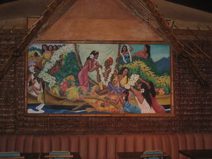 Eugene Savage-style painting in the Polynesian Room at Sam's Seafood in Huntington Beach