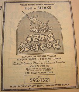 Phone book ad for Sam's Seafood in Huntington Beach, from the Anaheim Public Library
