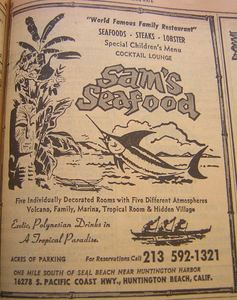 1971 phone book ad for Sam's Seafood in Huntington Beach, from the Anaheim Public Library