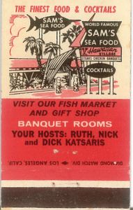 Matchbook from Sam's Seafood in Huntington Beach