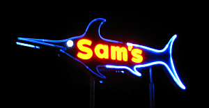 Sign for Sam's Seafood in Huntington Beach