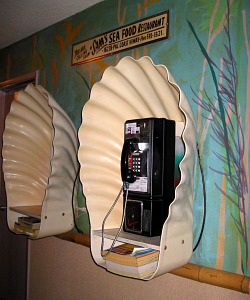 Clam shell phone booths at Sam's Seafood