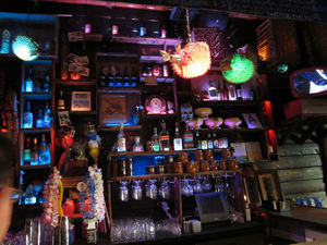 Behind the bar at Tiki No in North Hollywood