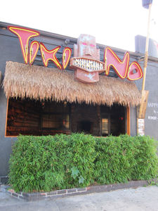 Sign and smoking patio at Tiki No in North Hollywood