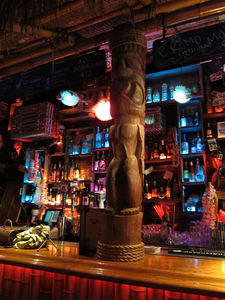 Tiki pole at the bar at Tiki No in North Hollywood