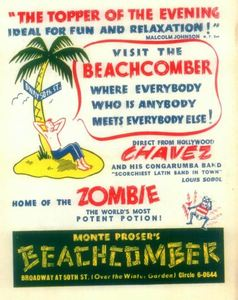 Advertisement from Monte Proser's Beachcomber in New York