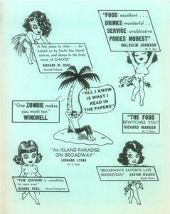 Back page of an advertisement from Monte Proser's Beachcomber in New York