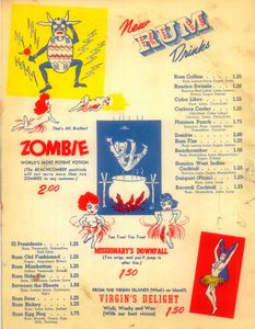 Drink menu from Monte Proser's Beachcomber in Miami Beach