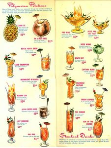 Drink menu from Lanai in New York