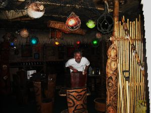 Bamboo Ben of Huntington Beach at Frankie's Tiki Room, where he installed the bamboo and other decor