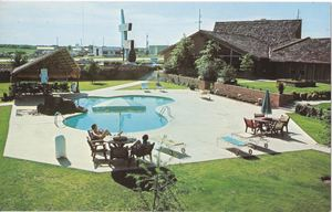 Postcard Clayton House Motel, which housed Outrigger Club in Ardmore