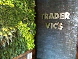 Waterall sign at the entrance to Trader Vic's in Portland