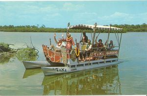 Postcard showing the Tiki Tour boat from  Tiki Gardens in Indian Rocks Beach