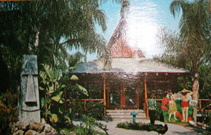 "Postcard of 'Little Kahnon,"" God of the Birds and the Tahiti Hut at Tiki Gardens in Indian Rocks Beach"