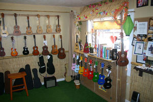 Front wall at Tiki King's Ukuleles of Felton in Felton