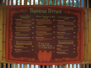 Menu board at Tangaroa Terrace in Anaheim