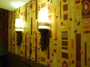 The inside of the men's room at Trader Sam's Enchanted Tiki Bar in Anaheim