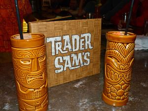 Drinks and a bar menu Trader Sam's Enchanted Tiki Bar in Anaheim