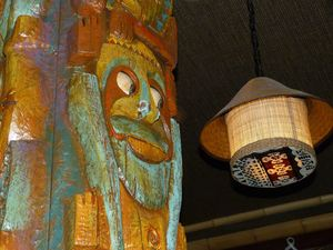Tiki totem (from the Enchanted Tiki Room) holding up the bar at Trader Sam's Enchanted Tiki Bar in Anaheim