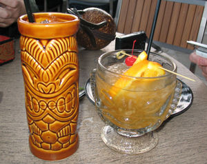 Krakatoa Punch (left) & HippopotoMai-Tai (right) at Trader Sam's Enchanted Tiki Bar in Anaheim