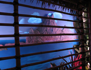 "Faux window with volcano that ""erupts"" when a Krakatoa Punch is ordered at Trader Sam's Enchanted Tiki Bar in Anaheim"