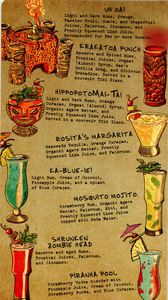 Bar menu from Trader Sam's Enchanted Tiki Bar in Anaheim
