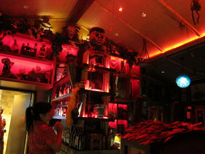 The bar during a Krakatoa eruption at Trader Sam's Enchanted Tiki Bar in Anaheim