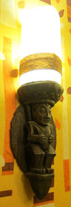 Wall sconce in the bathroom at Trader Sam's Enchanted Tiki Bar in Anaheim