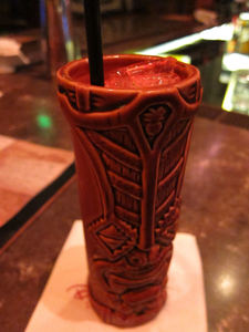Glowing-red Krakatoa at Trader Sam's Enchanted Tiki Bar in Anaheim