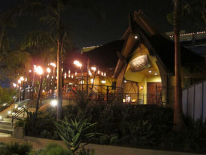 Exterior at night at Trader Sam's Enchanted Tiki Bar in Anaheim