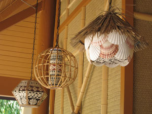 Lamps on the outdoor patio at Trader Sam's Enchanted Tiki Bar in Anaheim
