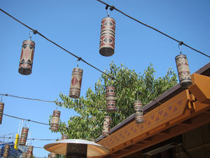 Lights on the outdoor patio at Trader Sam's Enchanted Tiki Bar in Anaheim