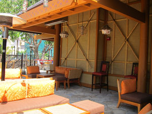 Outdoor patio at Trader Sam's Enchanted Tiki Bar in Anaheim