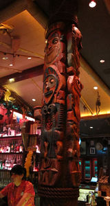 Tiki pole, similar to those found at the Enchanted Tiki Room, at Trader Sam's Enchanted Tiki Bar in Anaheim