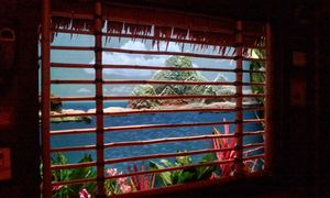 Volcano diorama window at Trader Sam's Enchanted Tiki Bar in Anaheim