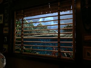 Volcano window scene at Trader Sam's Enchanted Tiki Bar in Anaheim