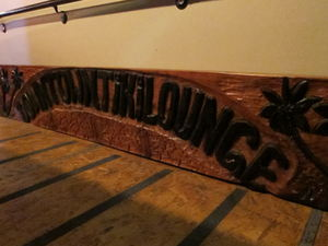 Sign waiting to be hung at The Downtown Tiki Lounge in San Mateo
