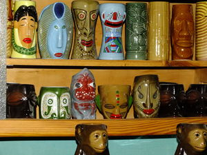 Mug collection at Cocteleria Tahiti in Barcelona
