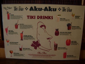 Drink menu at Aku Aku Tiki Bar in Oslo